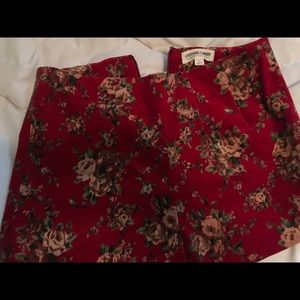 Cotton Candy Shorts - Red floral velvet shorts
